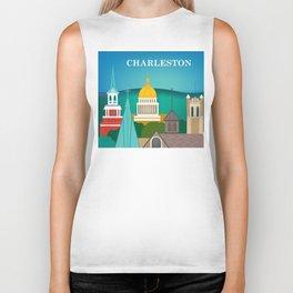 Charleston, West Virginia - Skyline Illustration by Loose Petals Biker Tank
