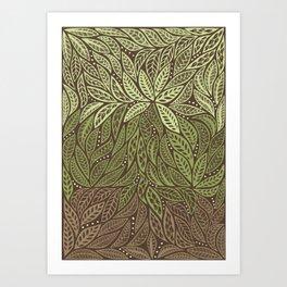 Polynesian Tribal Tattoo Shades Of Green Floral Design Art Print