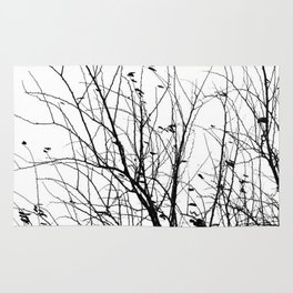 Black white tree branch bird nature pattern Rug