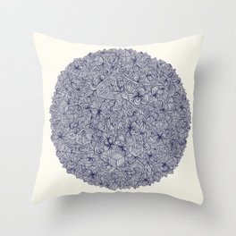 Held Together - a pattern of navy blue doodles Throw Pillow