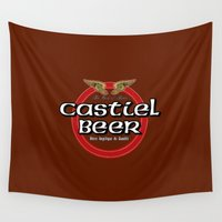 castiel Wall Tapestries featuring Castiel Beer by Nana Leonti