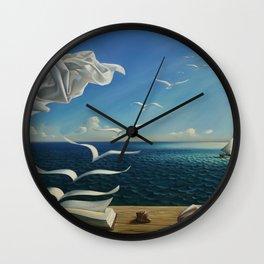 Paper Birds surreal literary seaside nautical portrait painting  Wall Clock