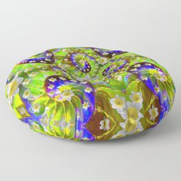 ULTRA VIOLET GREEN DAFFODIL GARDEN MAZE Floor Pillow