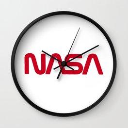 Red Nasa Wall Clock