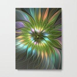 Luminous Fantasy Flower Colorful Factal Metal Print