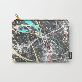 Abstract teal yellow paint splatters gray marble Carry-All Pouch