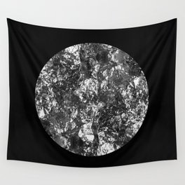Silver Moon - Abstract, textured silver foil lunar design Wall Tapestry