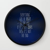 fault Wall Clocks featuring The Fault In Our Stars by Adel