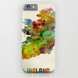 Ireland Eire Watercolor Map iPhone Case