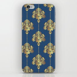 Gold damask flowers and pearls on blue background iPhone Skin