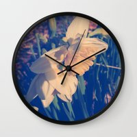 rileigh smirl Wall Clocks featuring Daffodil by Rileigh Smirl