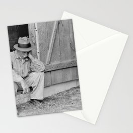 Farmer in Despair Over the Depression in 1932 Stationery Cards