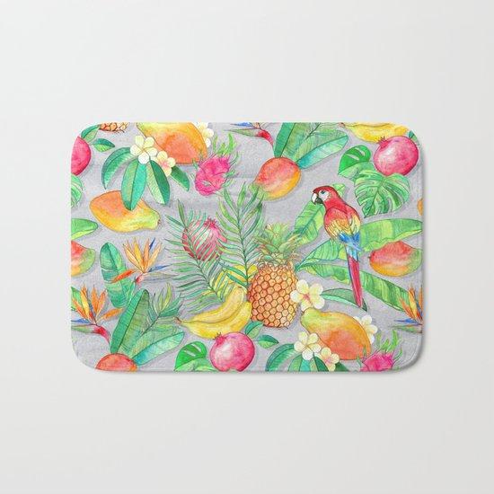 Tropical Paradise Fruit & Parrot Pattern Bath Mat