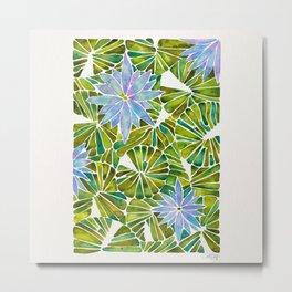 Water Lilies – Lavender & Green Palette Metal Print