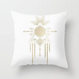Golden Goddess Mandala Throw Pillow