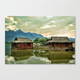 Water Huts Canvas Print