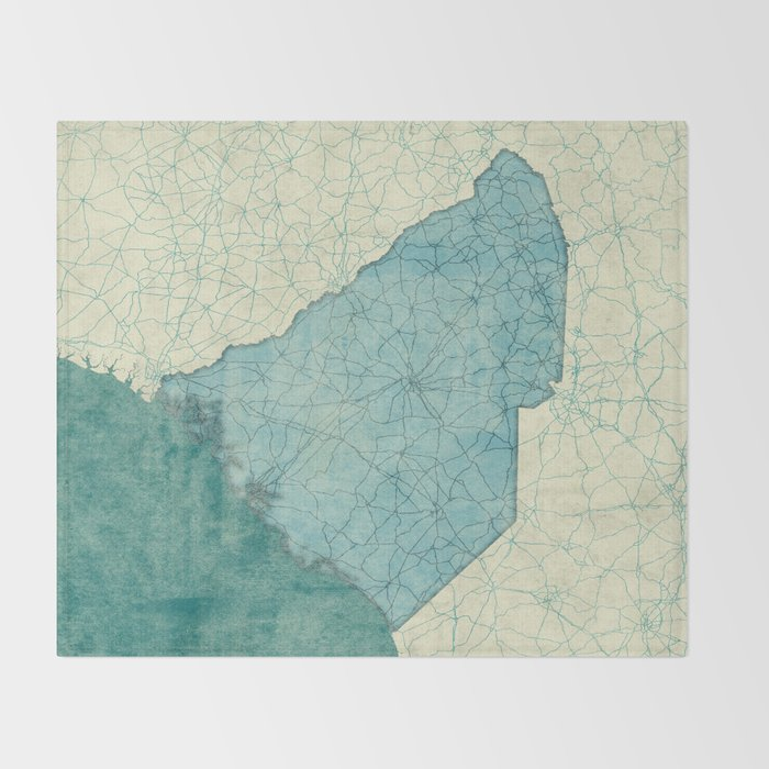 South Carolina State Map Blue Vintage Throw Blanket by hubertroguski ...