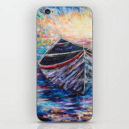 Wooden Boat at Sunrise - original oil painting with palette knife #society6 #decor #boat iPhone Skin