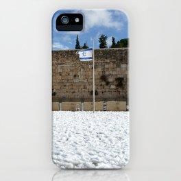 Snowy Jerusalem, Old City, Western Wall iPhone Case