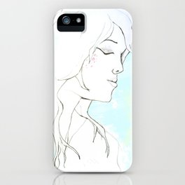 Girl in blue iPhone Case