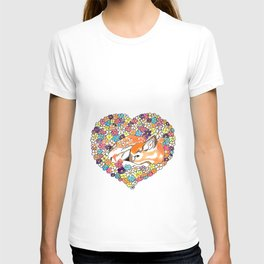 Fawn in a flowers heart T-shirt