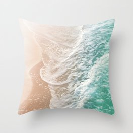 Soft Emerald Beige Ocean Dream Waves #1 #water #decor #art #society6 Throw Pillow