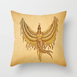 Isis, Goddess Egypt with wings of the legendary bird Phoenix Throw Pillow