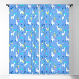 Desert Llamas on Blue Blackout Curtain