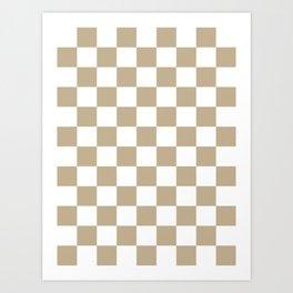 Checkered - White and Khaki Brown Art Print