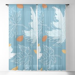 Lovely blue sky illustration with autumn leaves pattern  Sheer Curtain