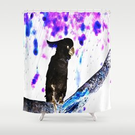 Ink Spots of the Black Feathered Cockatoo Shower Curtain