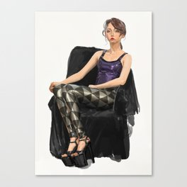 Erika Tschirhart in Black Milk black and silver triangles and latex top Canvas Print