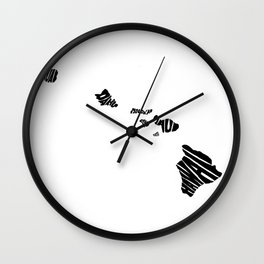 Typographic Hawaii Wall Clock