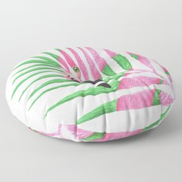 Pink Flamingo Palm Leaf Floor Pillow