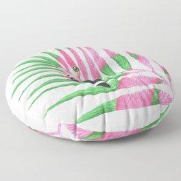 Pink Flamingo Palm Leaf Floor Pillow