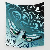 moth Wall Tapestries featuring Tangled moth by /CAM