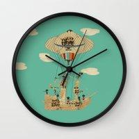 pirates Wall Clocks featuring sky pirates by bri.buckley