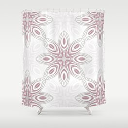 Feathers, Geometric Pattern in Mauve and Grey Shower Curtain