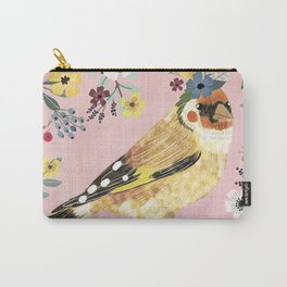 Goldfinch bird with floral crown Carry-All Pouch