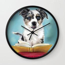 Puppy Book Lover Wall Clock