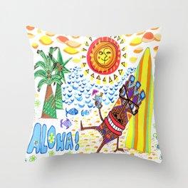 mid century modern Hawaiian tiki toast pattern Throw Pillow