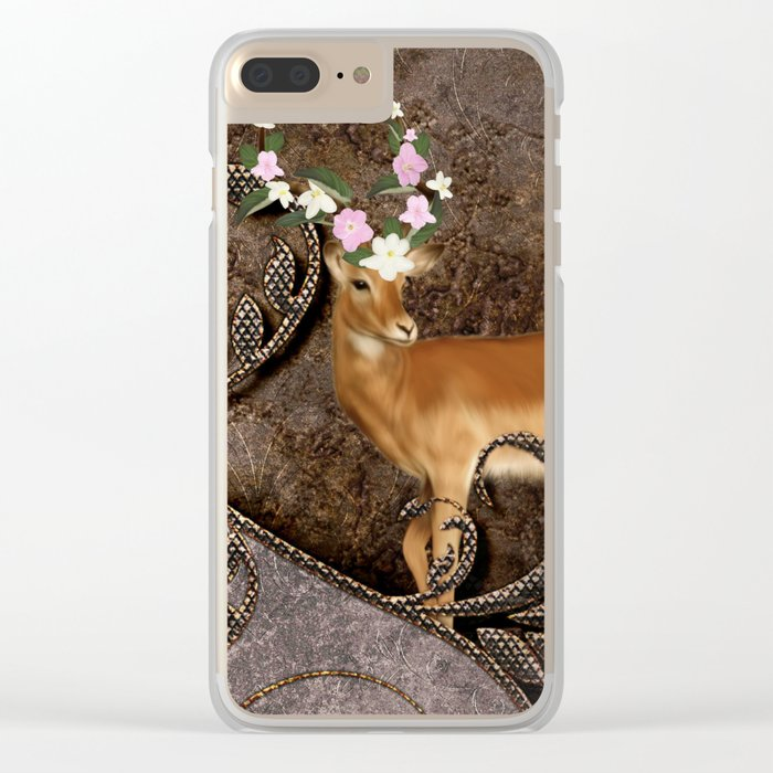Wonderful antelope with flowers Clear iPhone Case
