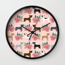 Pitbull Terrier flowers cute dog art pet portraits custom dog breed must have pitbull owner gifts Wall Clock