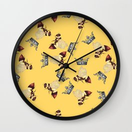 Busy Queen Bees Wall Clock