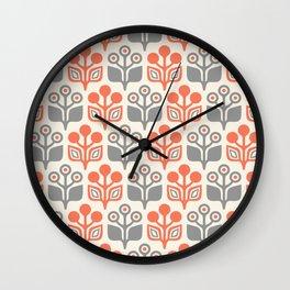 Mid Century Garden Flower Pattern Orange Grey Wall Clock