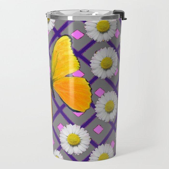 Yellow Butterfly on Black-grey Shasta Daisy Abstract Pattern Travel Mug