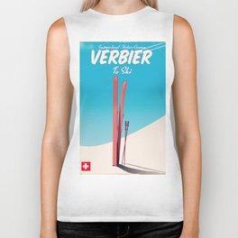 Verbier Switzerland vintage ski poster Biker Tank
