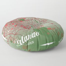 Orlando - United States Christmas Color City Map Floor Pillow