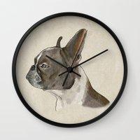 bulldog Wall Clocks featuring Bulldog by Marta Bocos