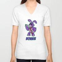 fnaf V-neck T-shirts featuring Bonnie Plush by Silvering